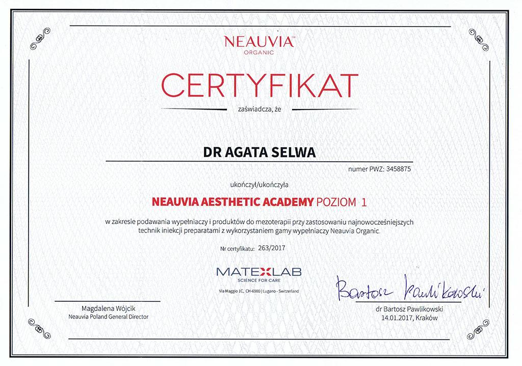 certyfikat Neauvia wypelnianie zmarszczek - O MNIE