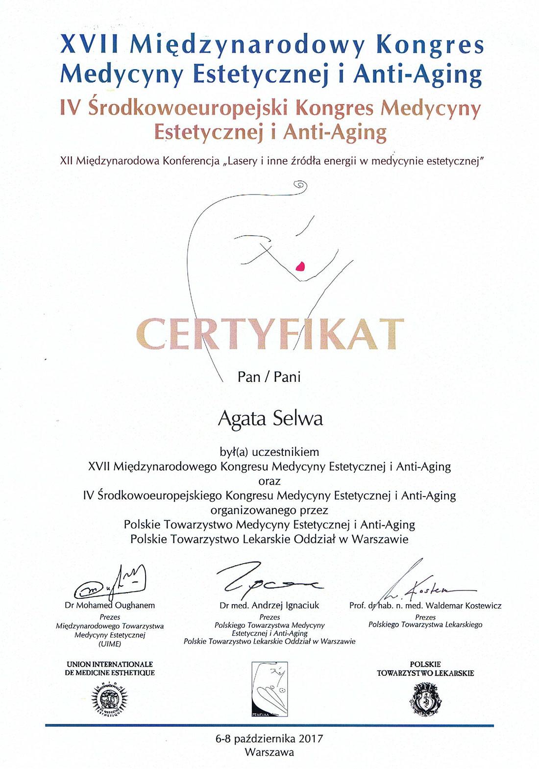 certyfikat kongres medycyny estetycznej selwa - O MNIE