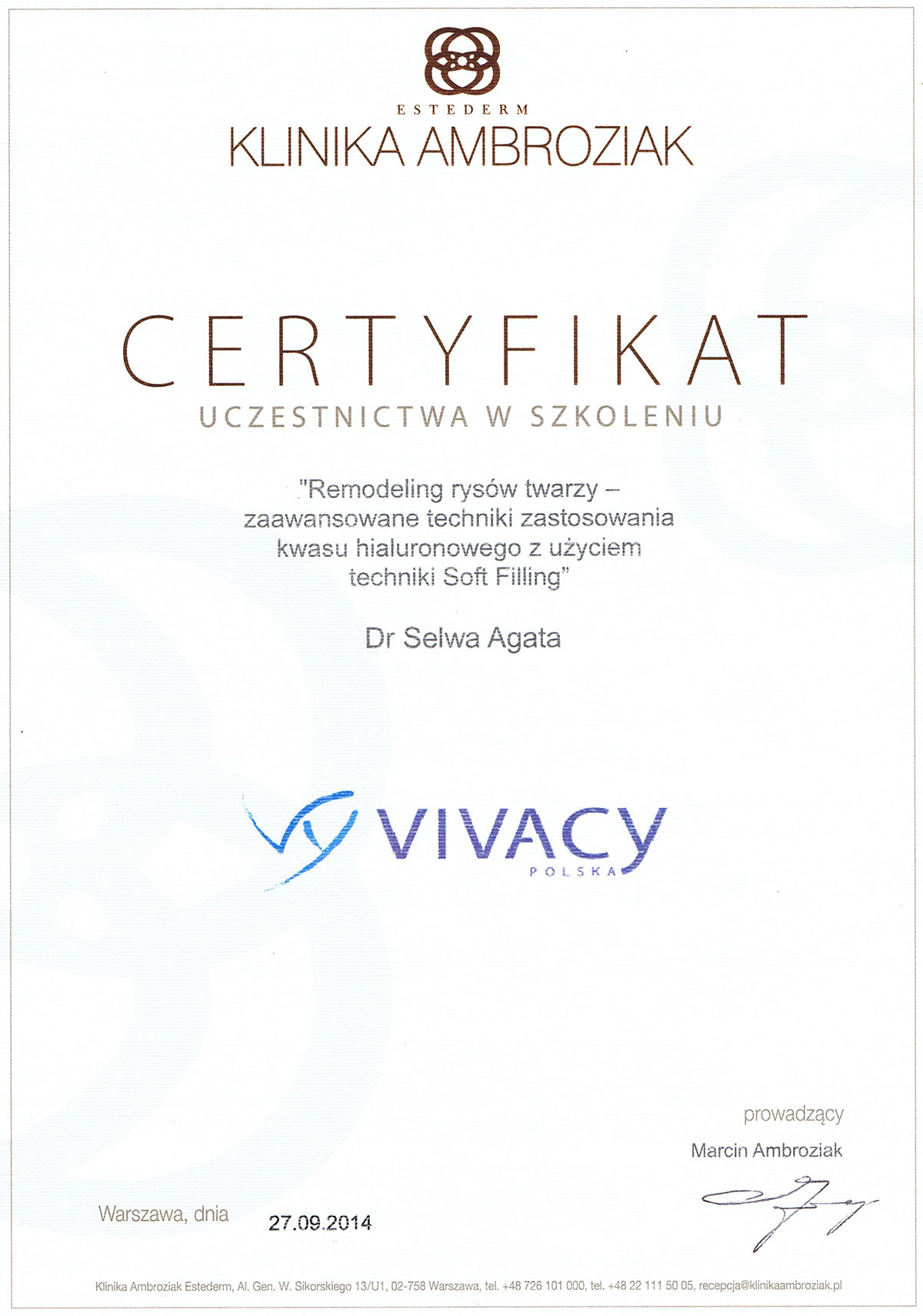 certyfikat remodeling rysów twarzy dr agata selwa