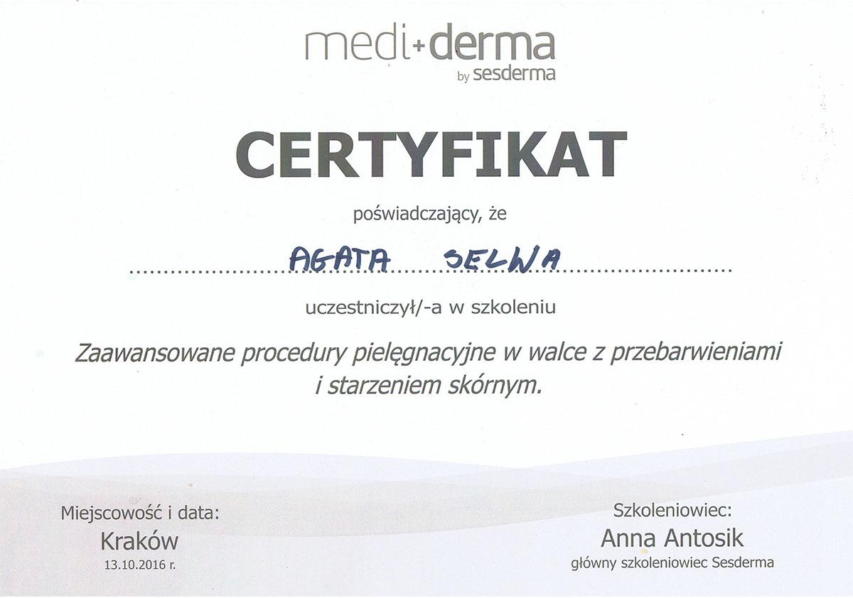 certyfikat przebarwienia i starzenie skóry dr agata selwa