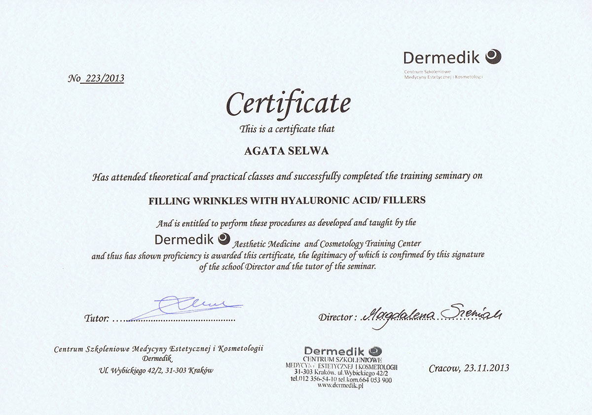 certyfikat kwas hialuronowy dr agata selwa