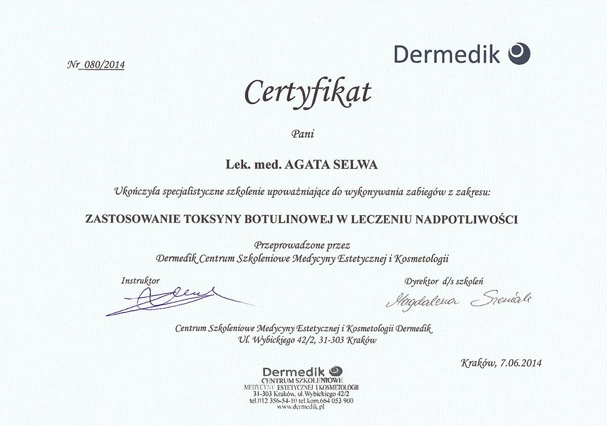 certyfikat leczenie nadpotliwości dr agata selwa
