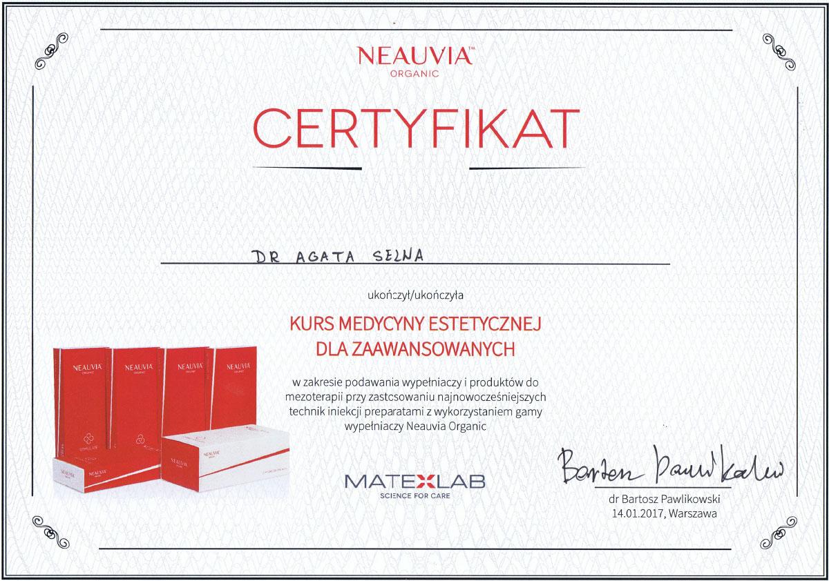 certyfikat kurs medycyny estetycznej dr agata selwa