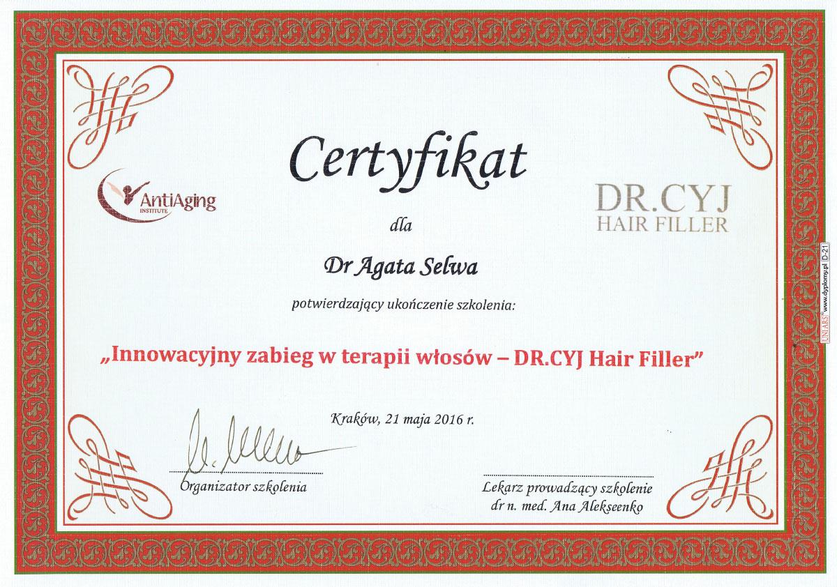 certyfikat dr cyj hair filler dr agata selwa