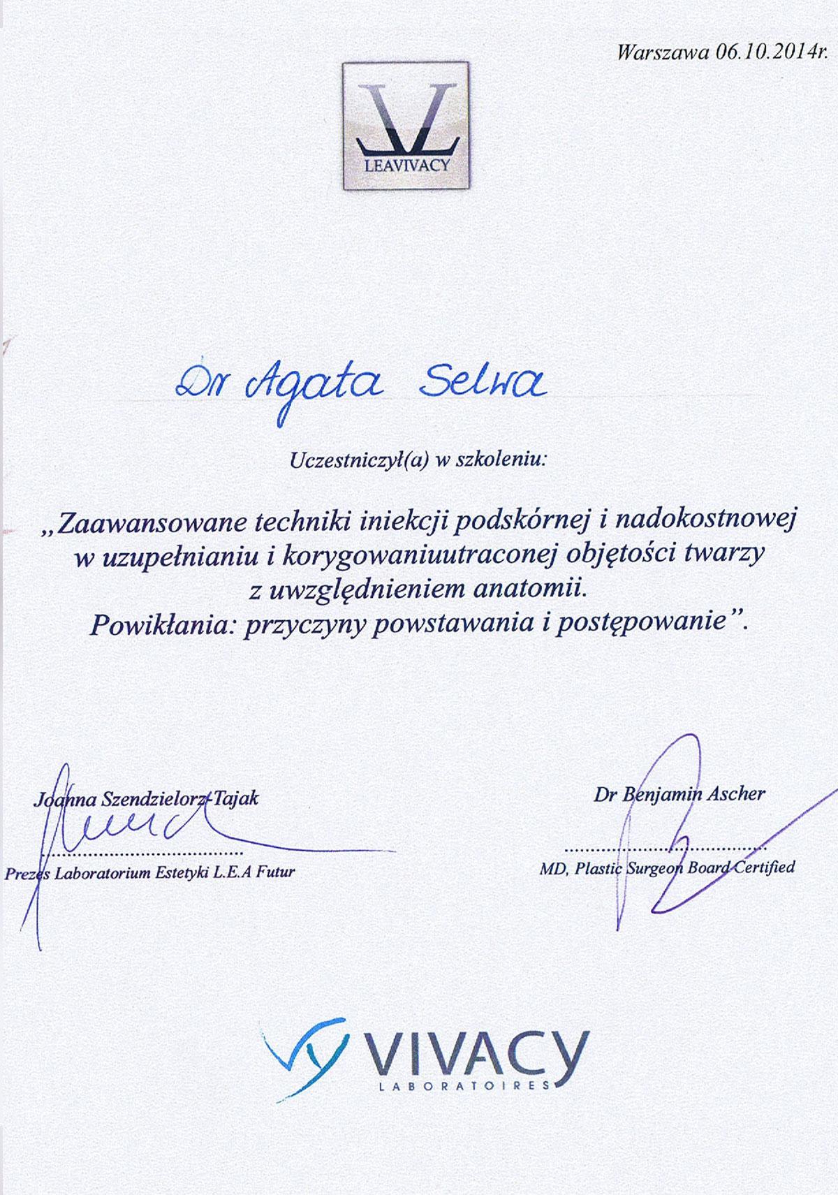certyfikat zabiegi medycyny estetycznej dr agata selwa