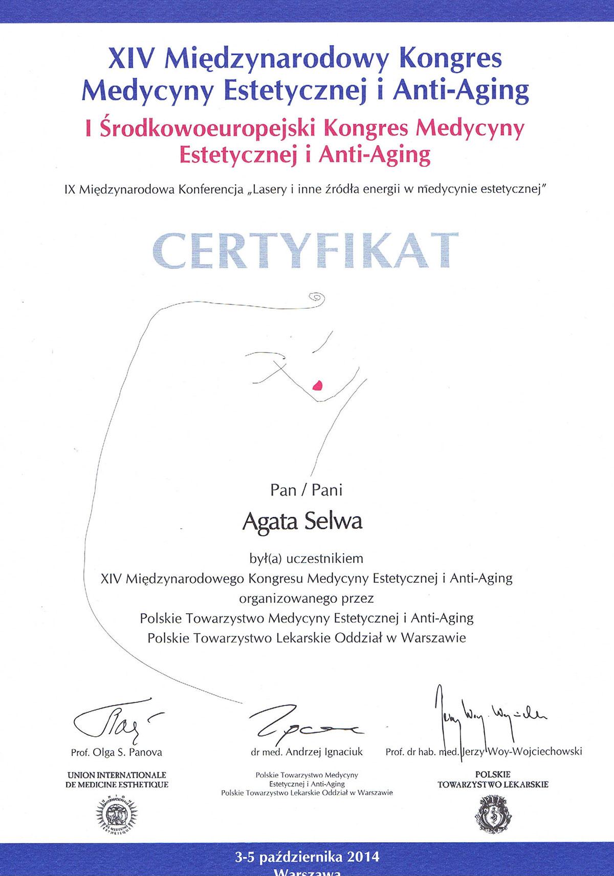 certyfikat kongres medycyny estetycznej dr agata selwa