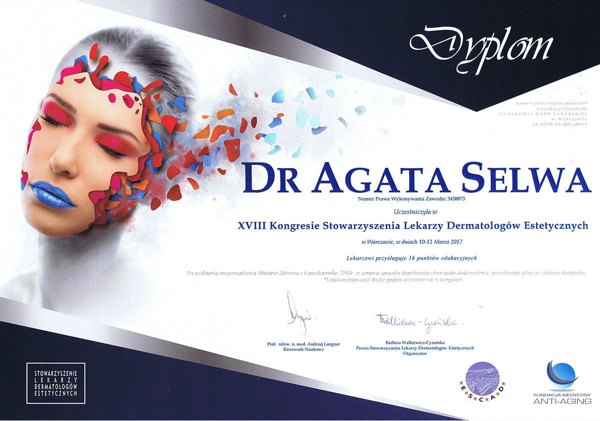 certyfikat kongres lekarzy dermatologów estetycznych dr agata selwa