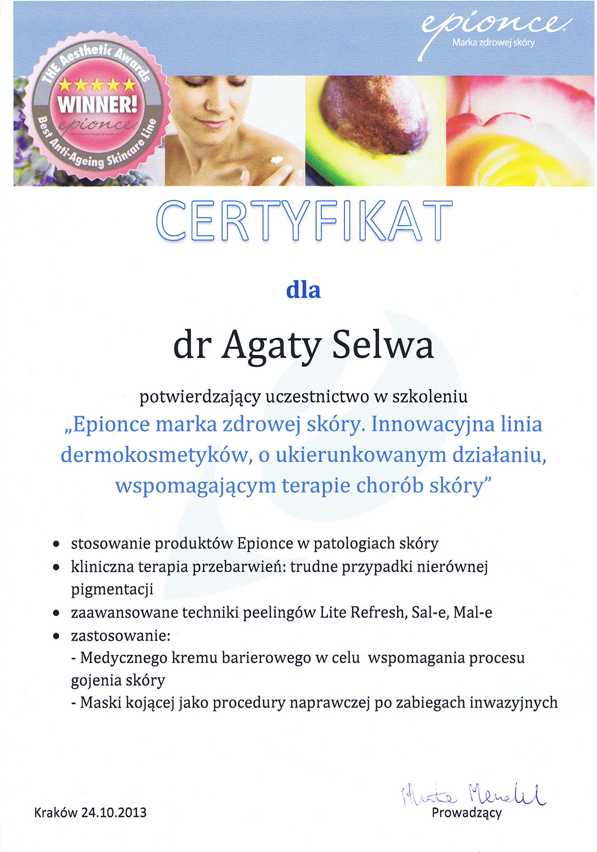 certyfikat epionce zdrowa skóra dr agata selwa
