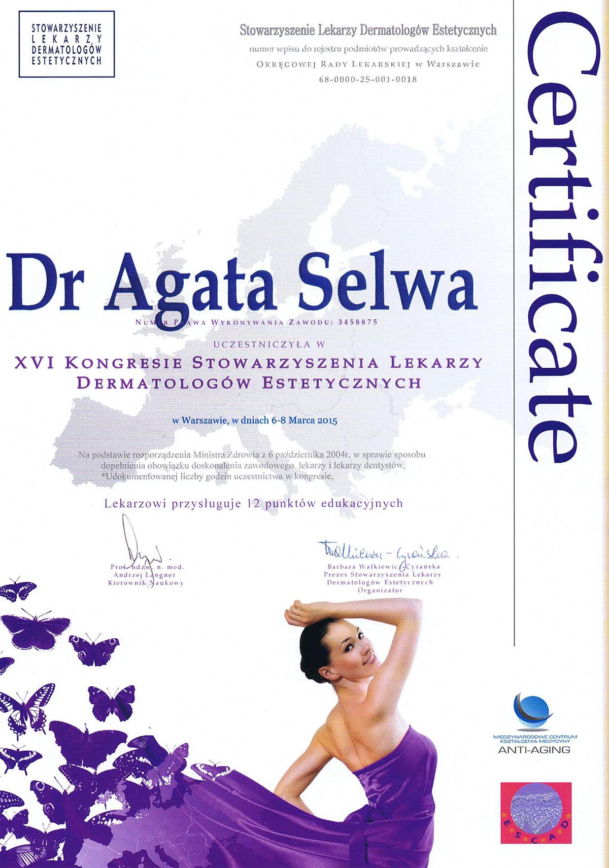 certyfikat lekarz dermatolog estetyczny dr agata selwa