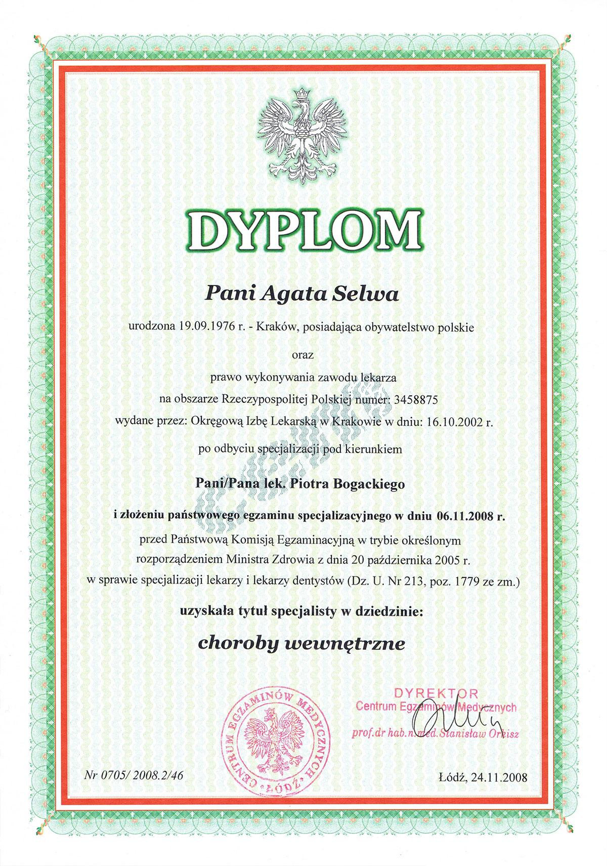 certyfikat specjalista chorób wewnętrznych dr agata selwa