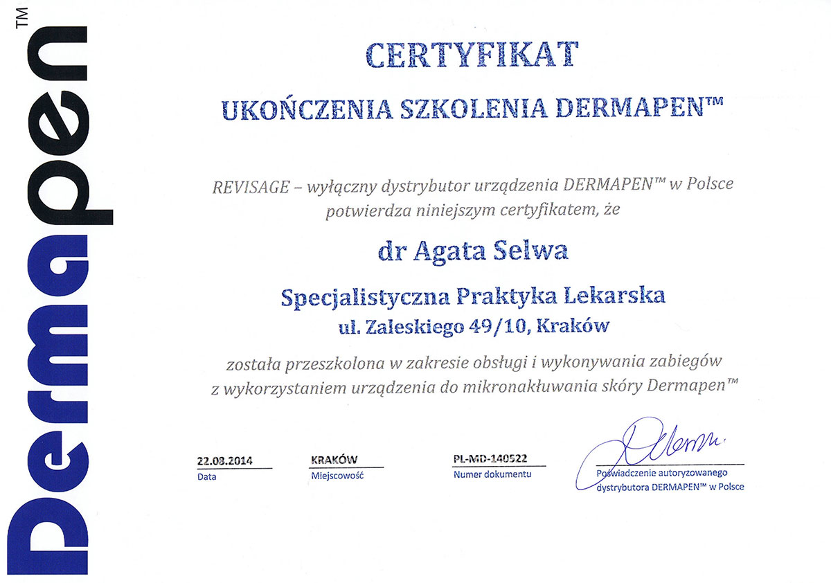 certyfikat dermapen dr agata selwa