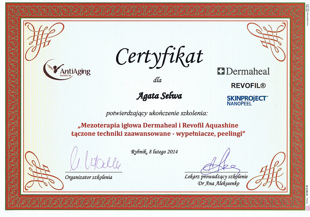 certyfikat mezoterapia igłowa dr agata selwa