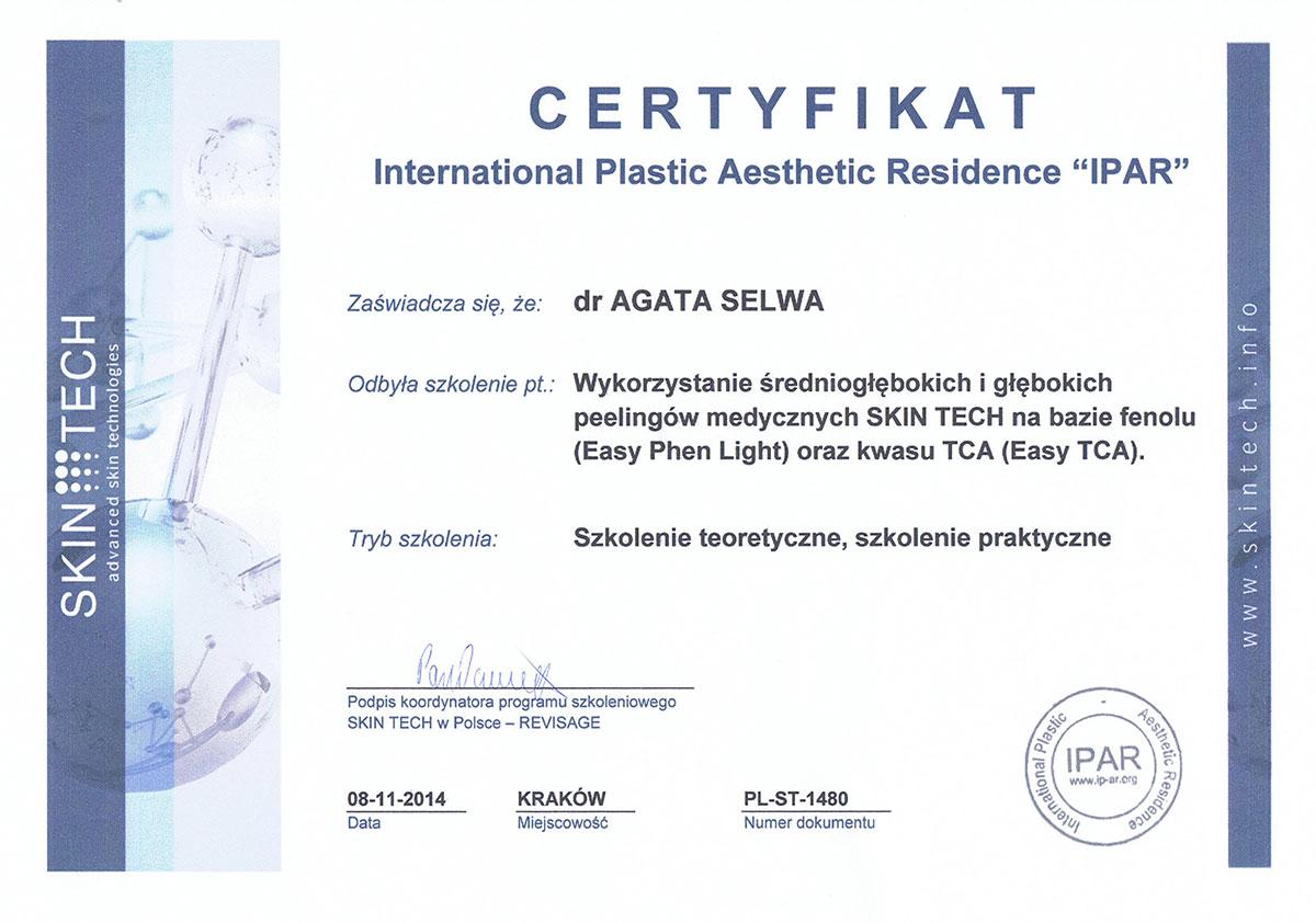 certyfikat peeling medyczny dr agata selwa