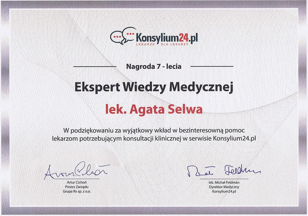 nagroda ekspert wiedzy medycznej dr agata selwa
