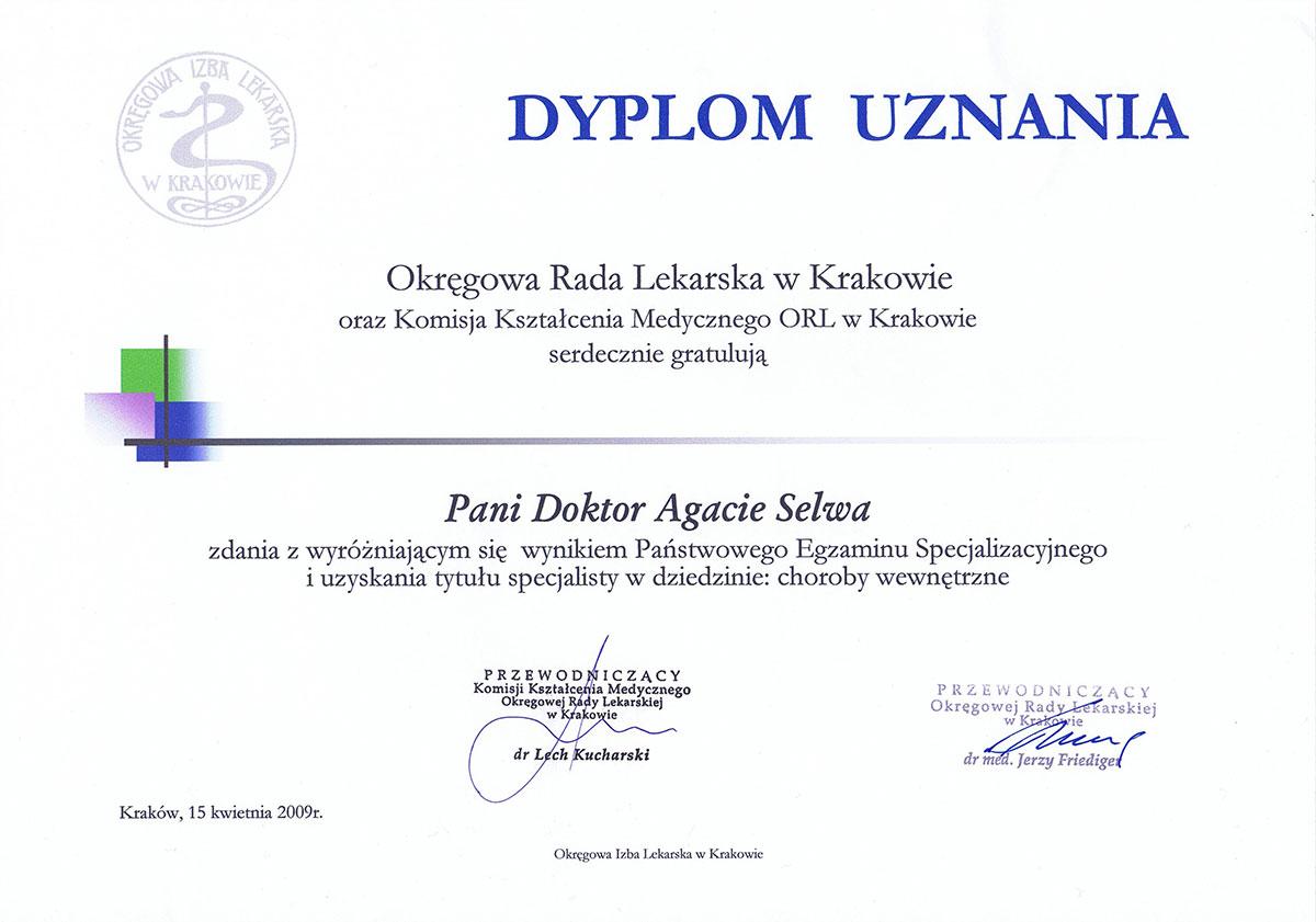 nagroda specjalista chorób wewnętrznych dr agata selwa