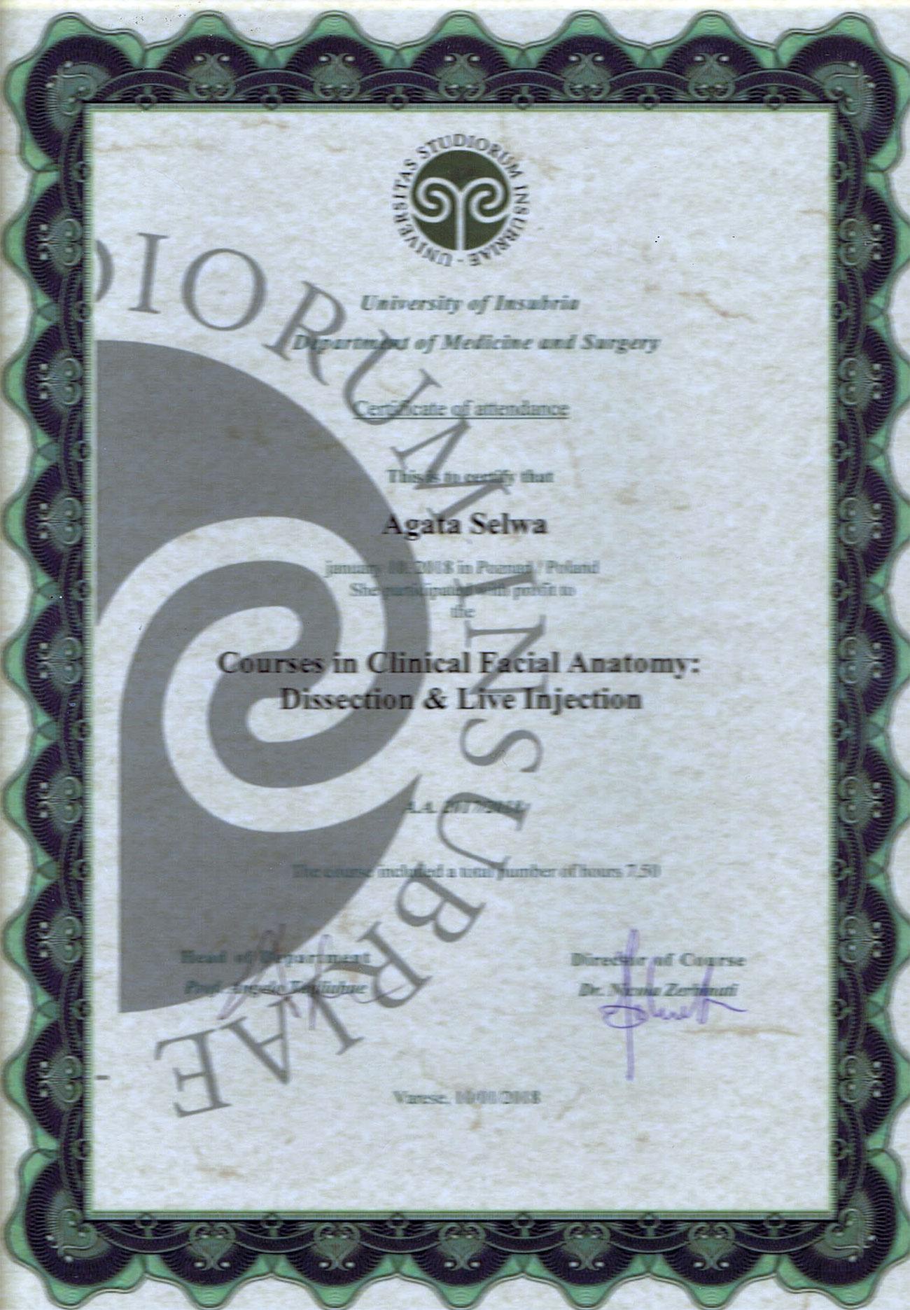 certyfikat dr agata selwa - O MNIE