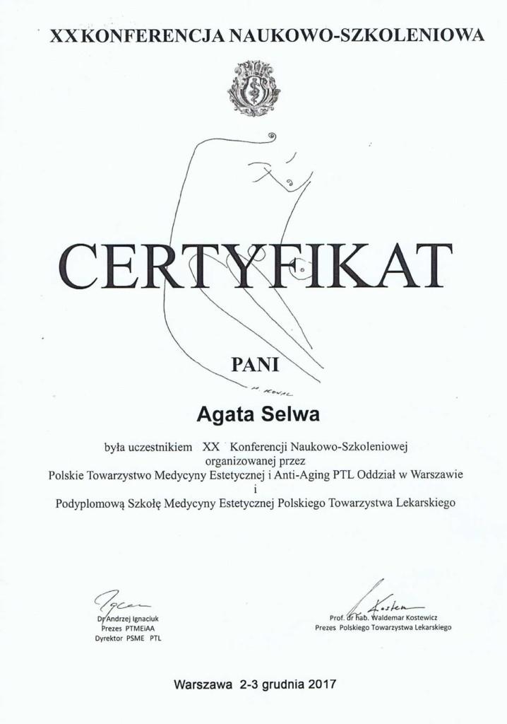 certyfikat konferencja medycyny estetycznej dr selwa 718x1024 - O MNIE