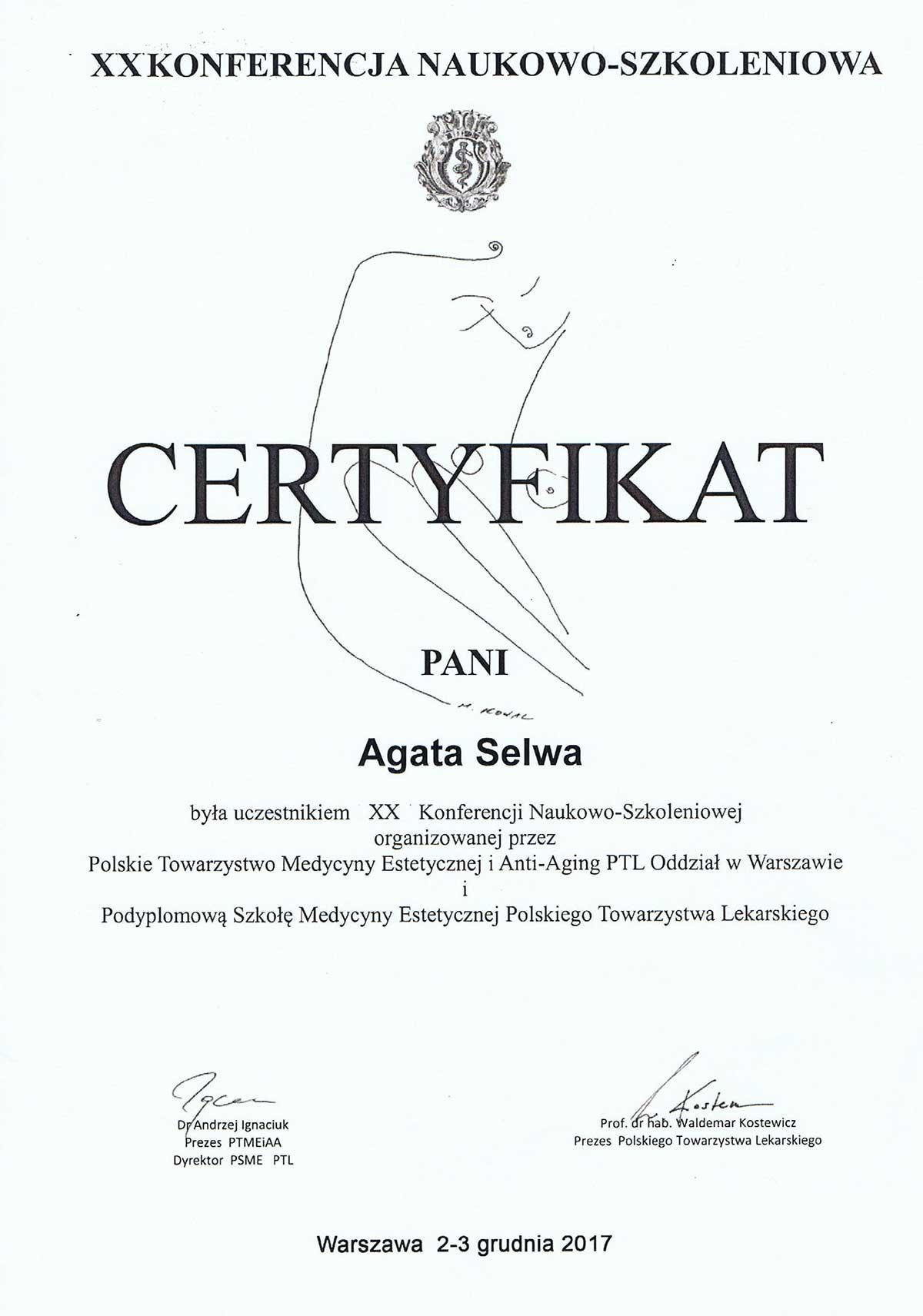 certyfikat konferencja medycyny estetycznej dr selwa - O MNIE