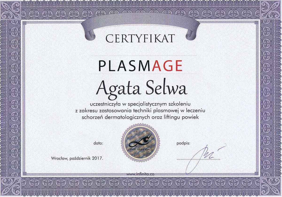 certyfikat plasmage dr agata selwa - O MNIE