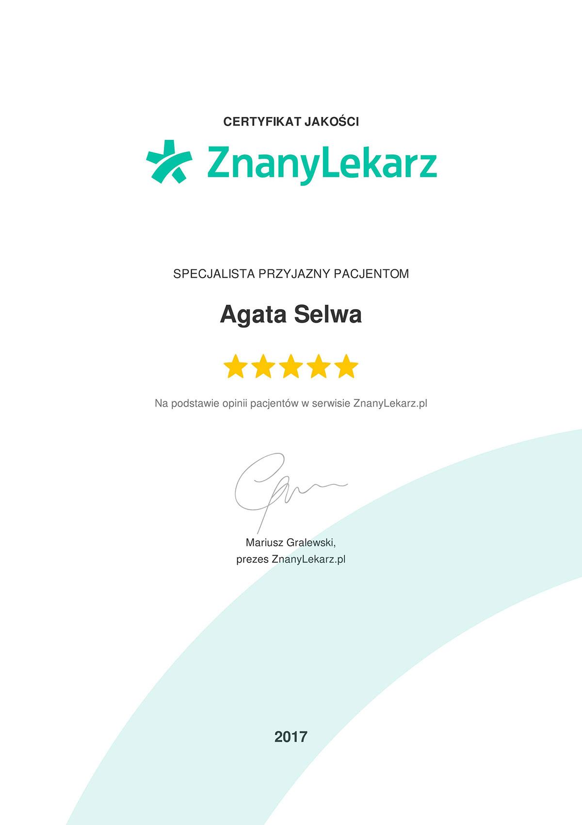 znanylekarz dr agata selwa certyfikat - O MNIE