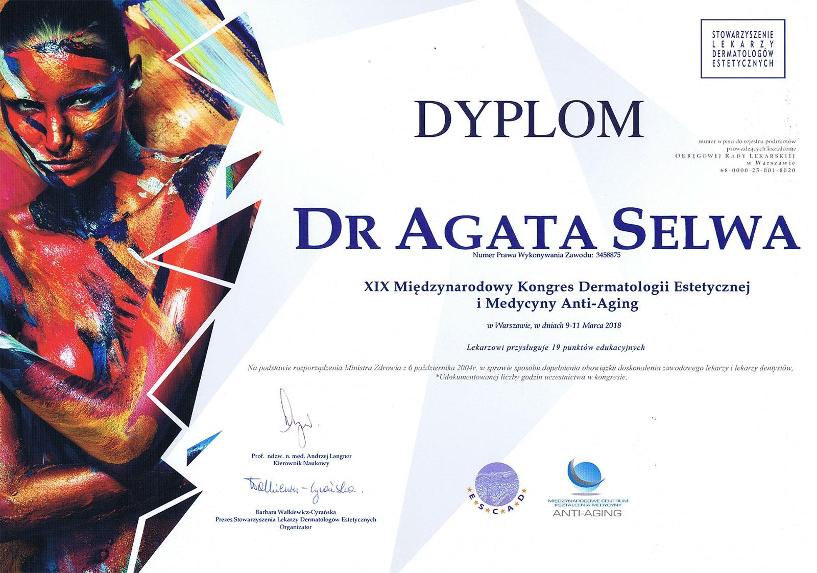 certyfikat dermatologia estetyczna 2018 - O MNIE