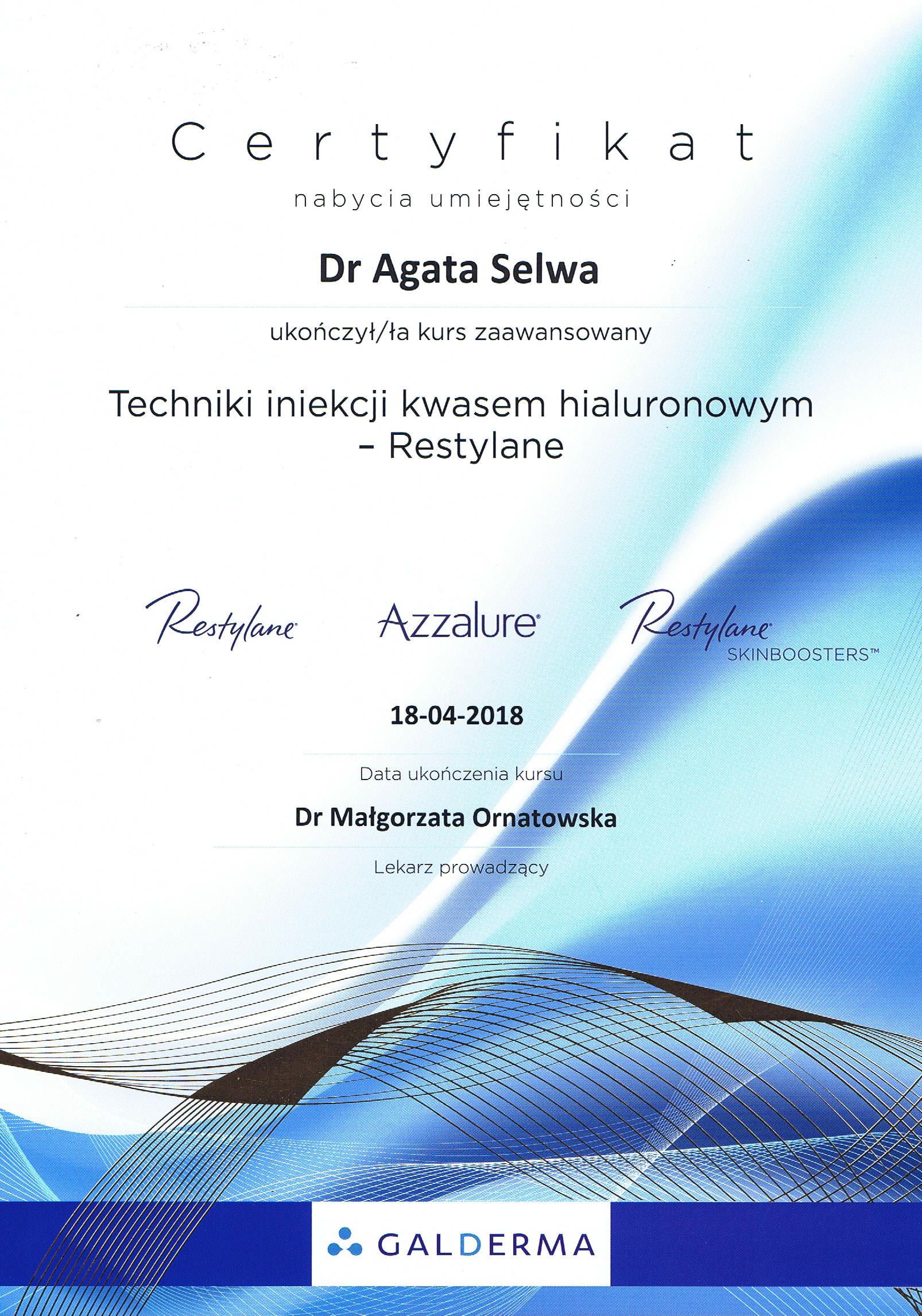 certyfikat techniki iniekcji kwasem hiauluronowym - O MNIE